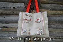 сумка льняная с рисунком