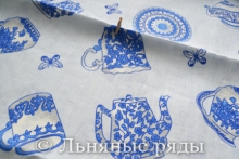 "Натуральный лен ""Голубая чашка"""