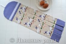 Льняное полотенце для кухни гуси