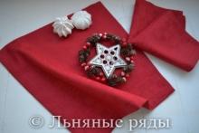 Льняная красная салфетка из плотного льна