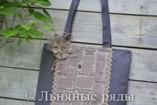 Льняная летняя эко-сумка с газетным принтом