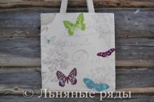 сумка серая льняная с бабочками