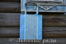 Льняная сумка-шоппер нежно-голубого цвета с цветочным принтом