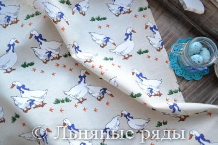 полотенце льняное гуси