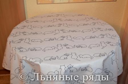 льняная скатерть кошки