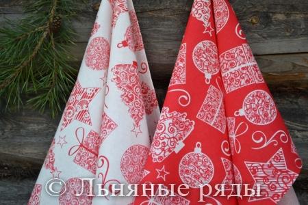 Льняные полотенца новый год