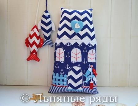 подушка морской домик