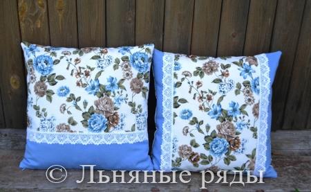 наволочки голубые розы