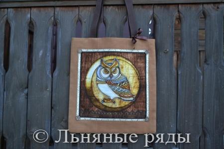 Льняная сумка-шоппер с совой