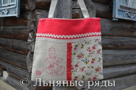 Льняная женская эко-сумка